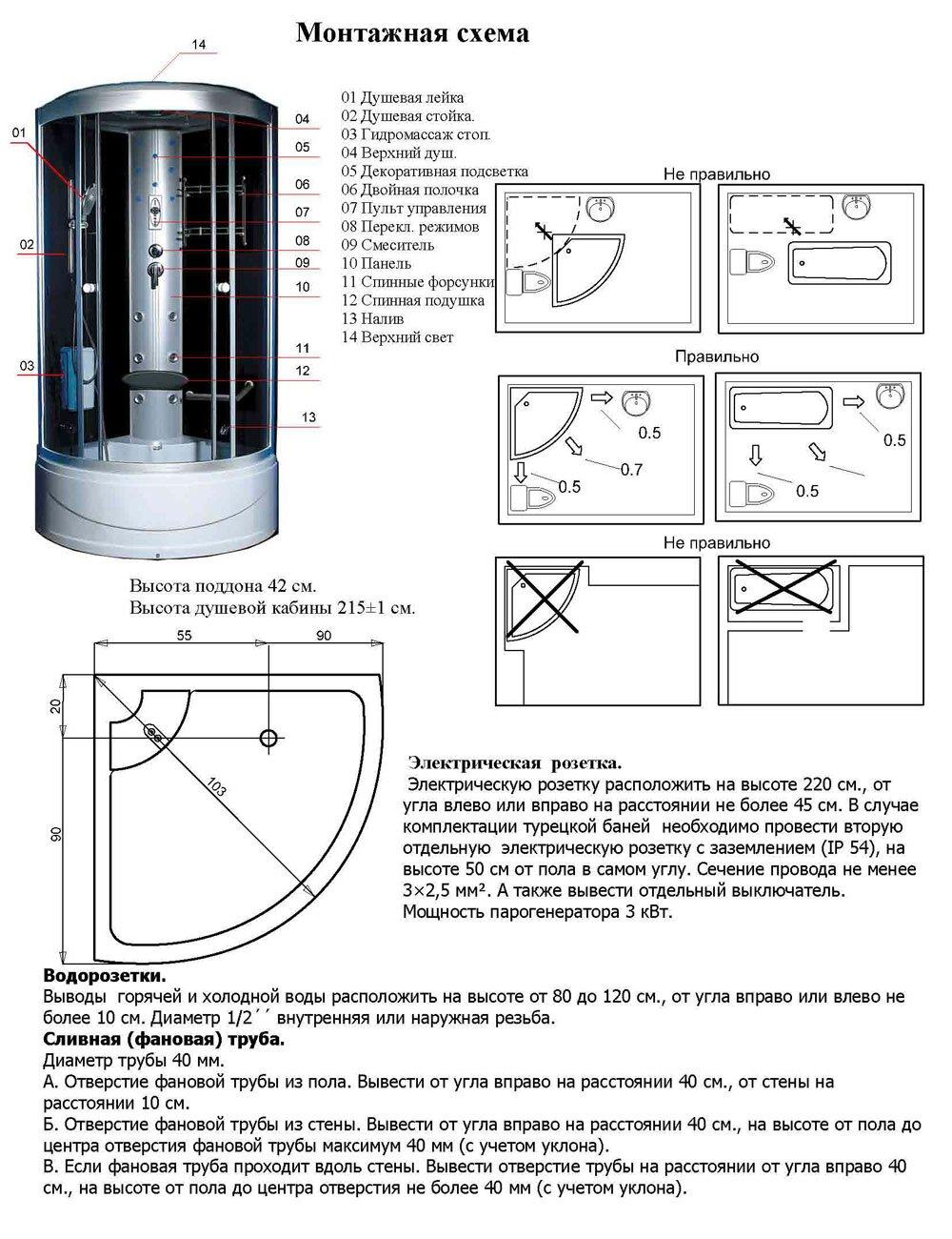 схема сборки душевой кабины ika