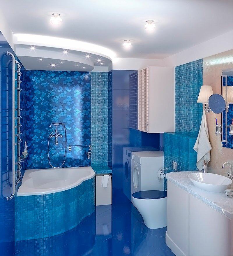 Фото дизайна ванных комнат в синих тонах